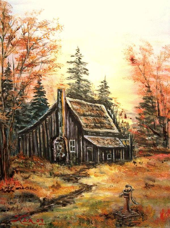 Landscape Old House Pump Poster featuring the painting Old house and Pump by Kenneth LePoidevin