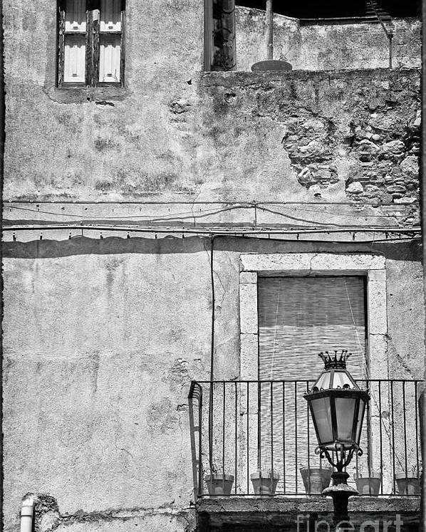 Black And White Poster featuring the photograph Old House In Taormina Sicily by Silvia Ganora