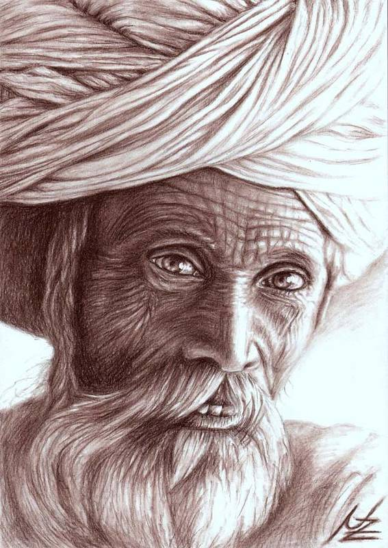 Man Poster featuring the drawing Old Indian Man by Nicole Zeug