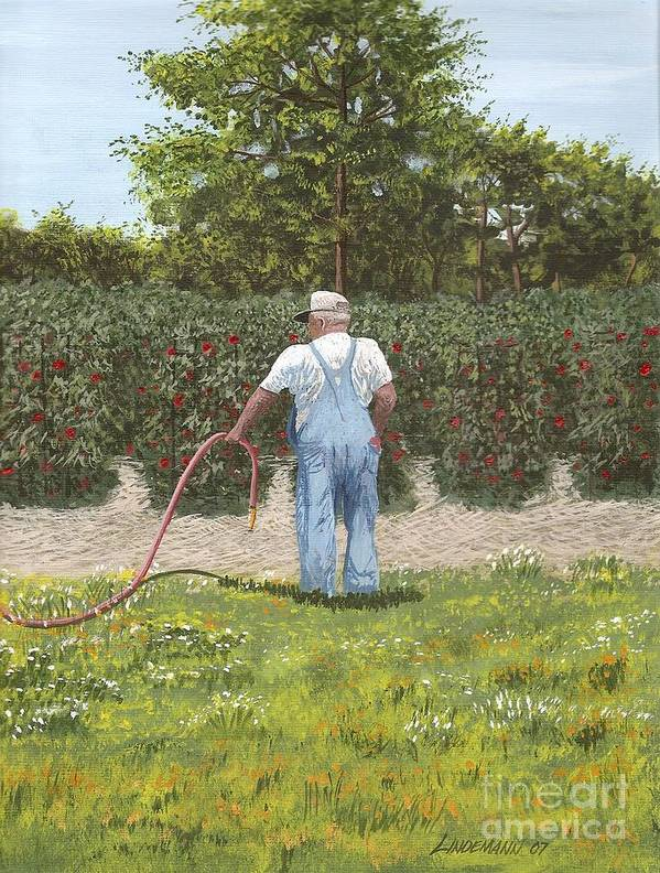 Old Man Poster featuring the painting Old Man In Garden by Don Lindemann