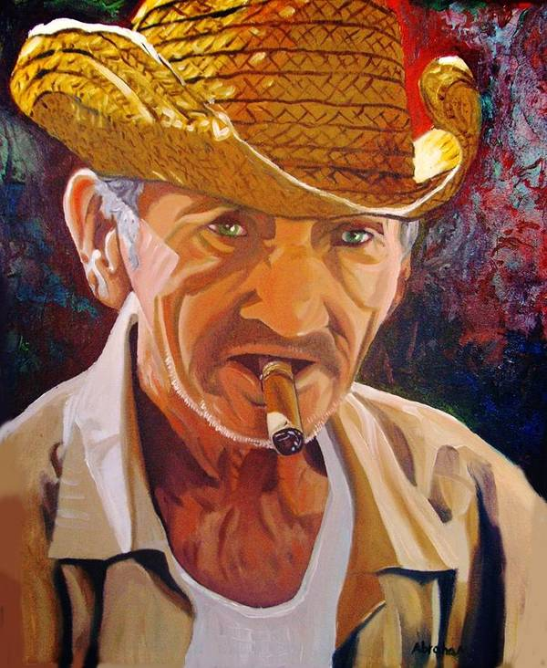 Cuban Art Poster featuring the painting Old Man by Jose Manuel Abraham