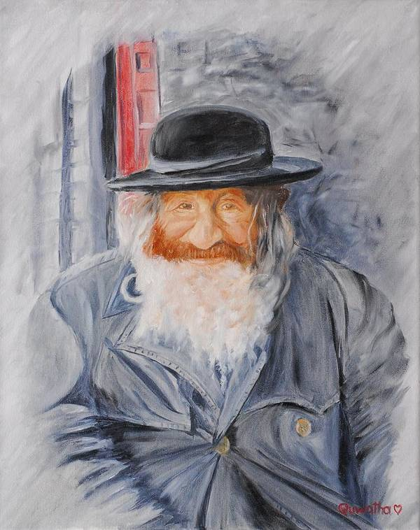 Jerusalem Poster featuring the painting Old Man Of Jerusalem by Quwatha Valentine