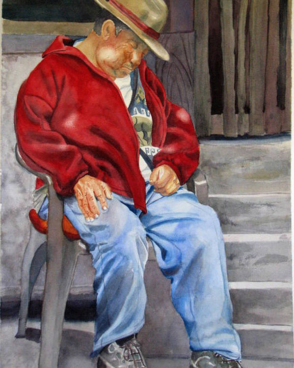 Man Poster featuring the painting Old Man Resting by Libby Cagle
