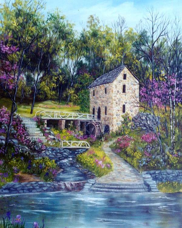 Landscape Poster featuring the painting Old Mill  Spring by Marveta Foutch