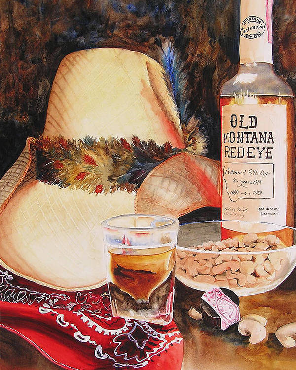 Whiskey Poster featuring the painting Old Montana Red Eye by Karen Stark