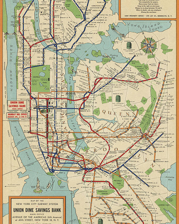 1900 Subway Map New York City.Old New York City Subway Map By Stephen Voorhies 1954 Poster