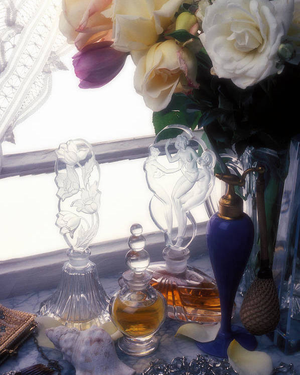 Old Poster featuring the photograph Old Perfume Bottles by Garry Gay