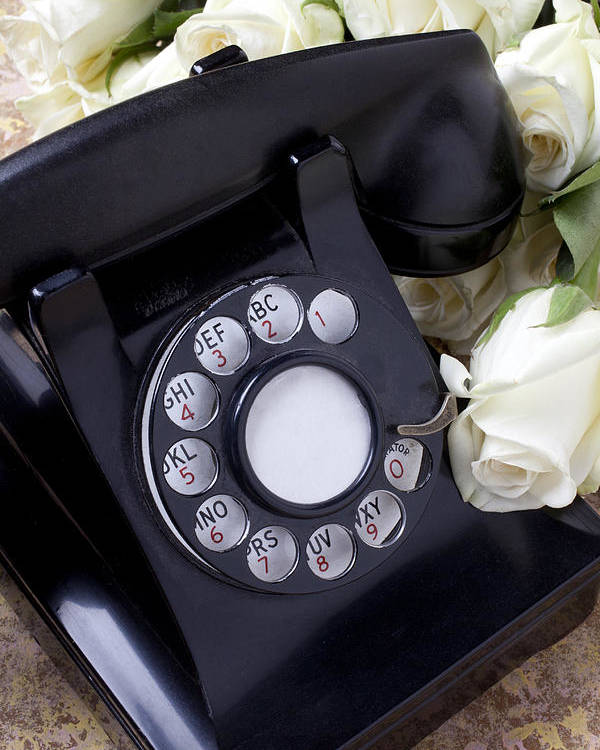 Old Poster featuring the photograph Old Phone And White Roses by Garry Gay