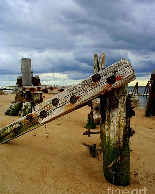 Plum Island Poster featuring the photograph Old Pilings by John Kenealy