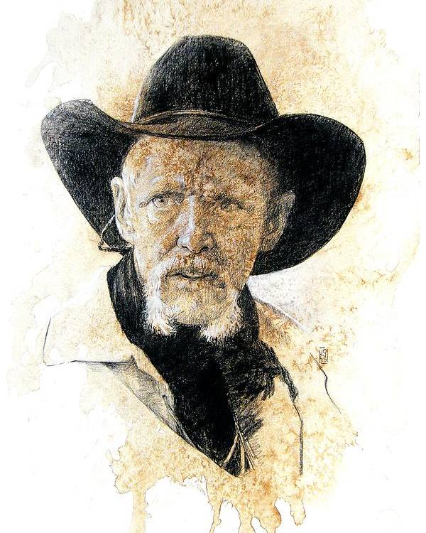 Cowboy Art Poster featuring the drawing Old Rider by Debra Jones