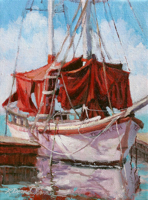 Old Boat Poster featuring the painting Old Salt by L Diane Johnson