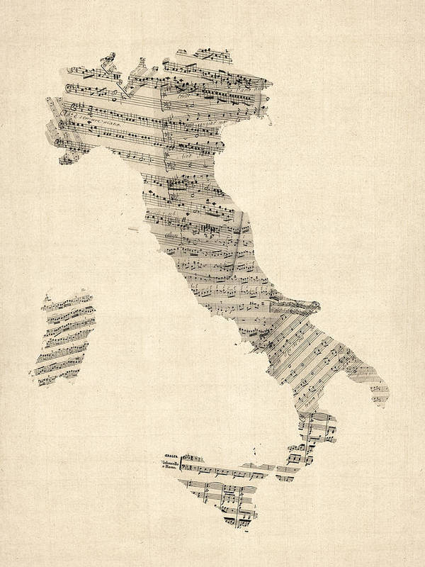 Italy Map Poster featuring the digital art Old Sheet Music Map of Italy Map by Michael Tompsett