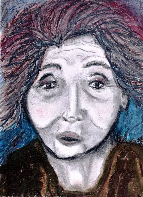 Face Poster featuring the drawing Old Suchi by JuneFelicia Bennett