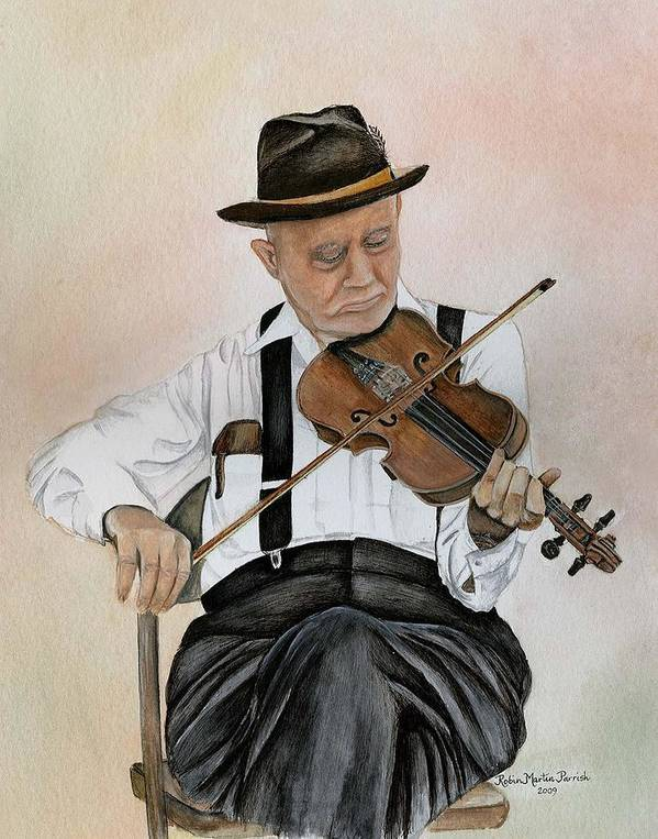 Fiddle Poster featuring the painting Old Time Fiddler by Robin Martin Parrish