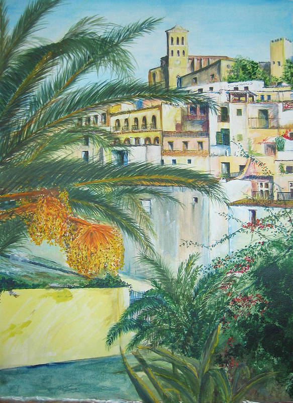 Ibiza Old Town Poster featuring the painting Old Town Ibiza by Lizzy Forrester