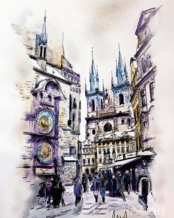 Old Town Square Poster featuring the mixed media Old Town Square In Prague by Melanie D