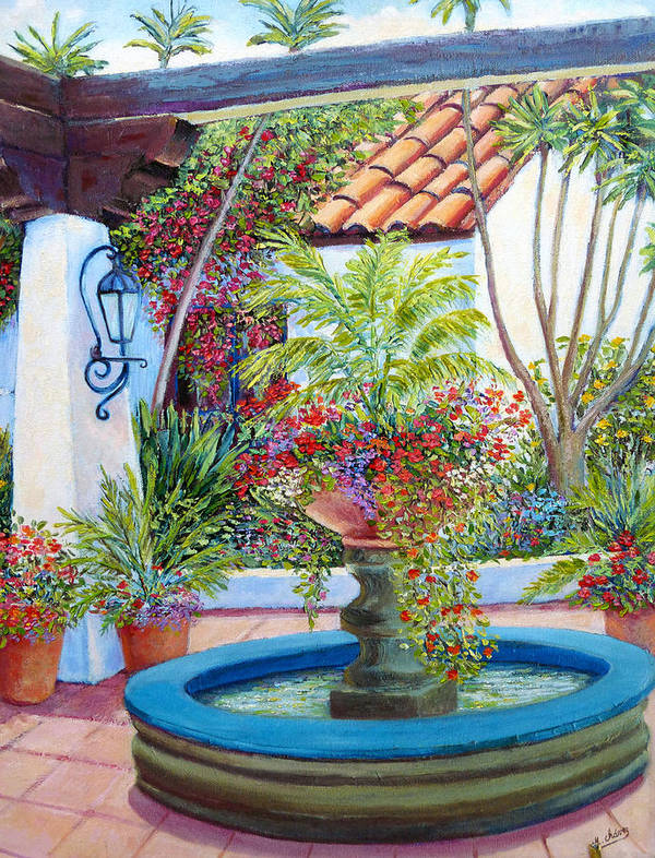 Old Town Poster featuring the painting Old Town Water Fountain by Miguel A Chavez