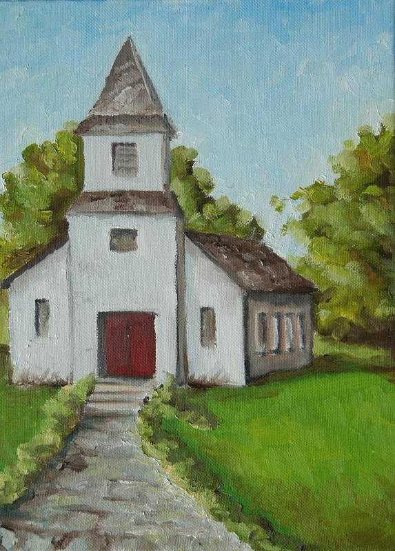 Church Poster featuring the painting Old White Church In The Texas Hill Country by Amy Higgins