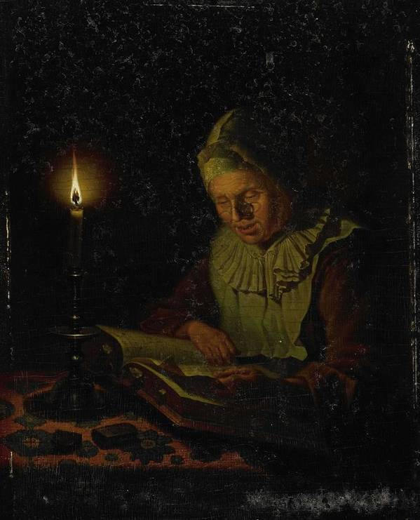 Girl Poster featuring the painting Old Woman Reading, Adriaan Meulemans, 1800 - 1833 by Adriaan Meulemans