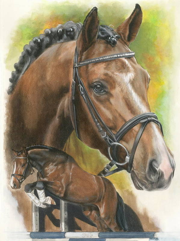 Hunter Jumper Poster featuring the mixed media Oldenberg by Barbara Keith