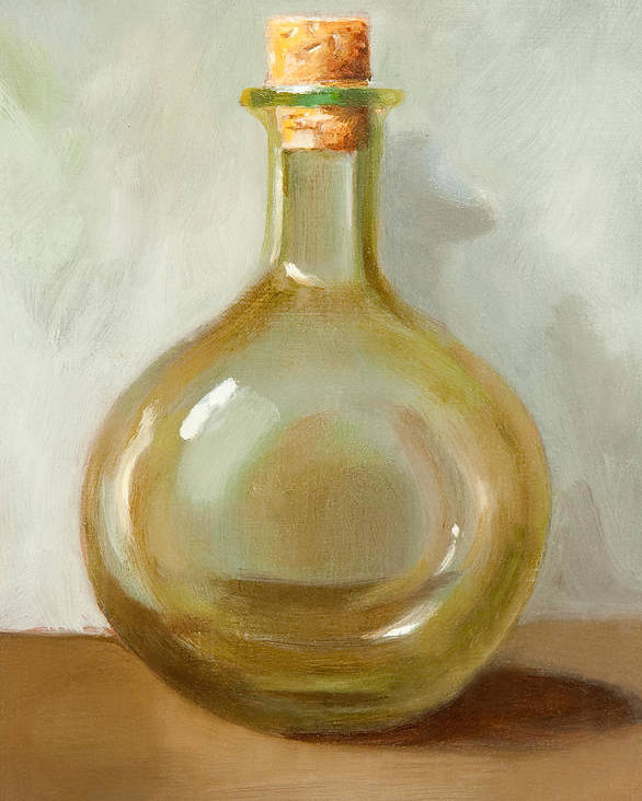 Olive Oil Poster featuring the painting Olive Oil Bottle Still Life by Joni Dipirro