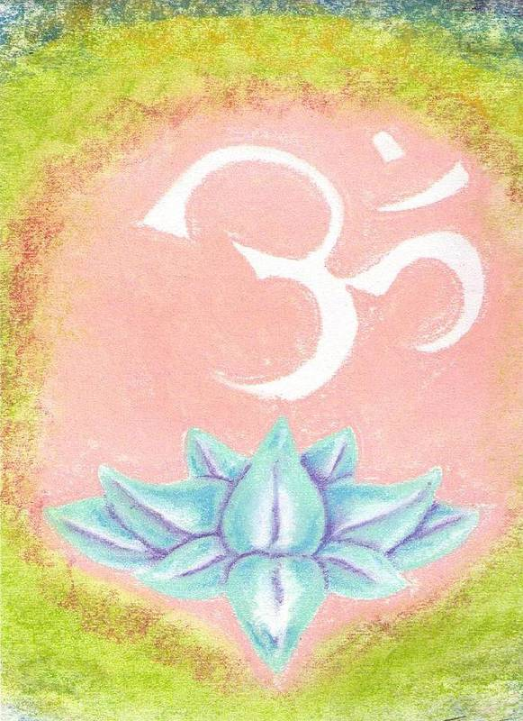 Om Poster featuring the pastel om by Garrett Wright