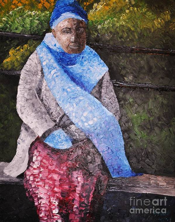 Black Woman Poster featuring the painting On A Cold Day by Reb Frost
