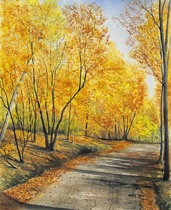 Autumn Poster featuring the painting On Golden Road by Mary Tuomi