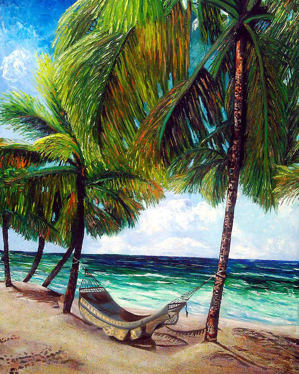 Beach Poster featuring the painting On the beach by Jose Manuel Abraham