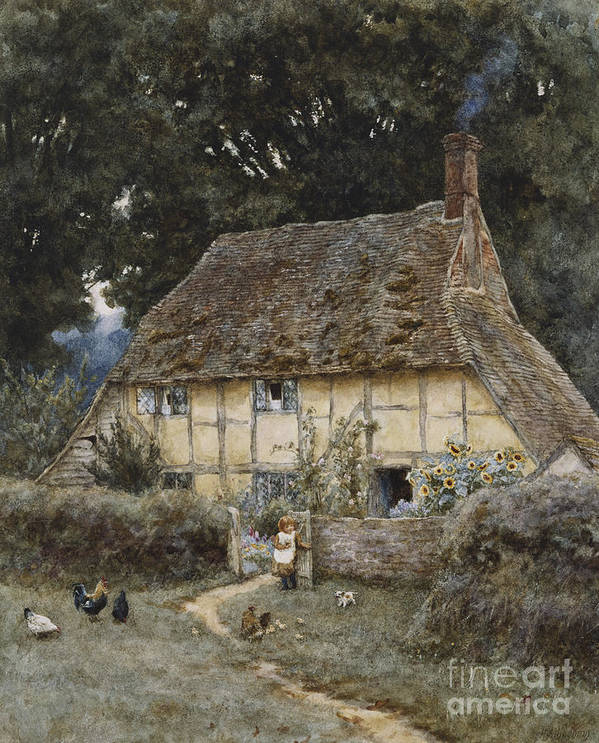 English; Landscape; Cottage; Path; Garden; Half-timbered; Wood;woods; Chickens; Rural; Child;f Eeding; C19th; C20th; Victorian Poster featuring the painting On The Brook Road Near Witley by Helen Allingham