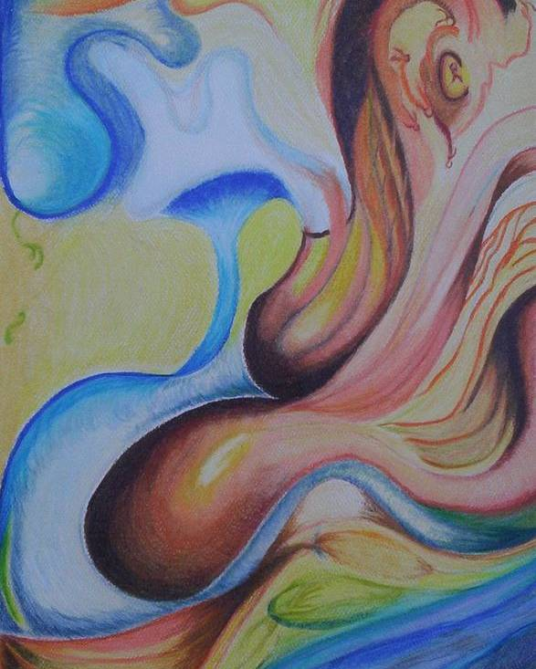 Abstract Poster featuring the painting On the Island by Suzanne Udell Levinger
