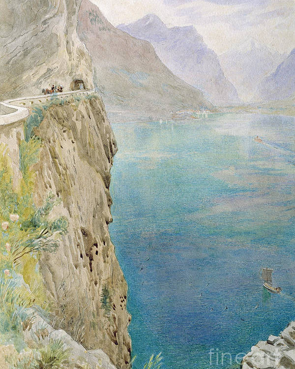 The Poster featuring the painting On The Italian Coast by Harry Goodwin