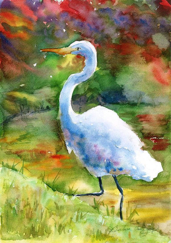 White Heron Poster featuring the painting On The Run by Barbara Jung