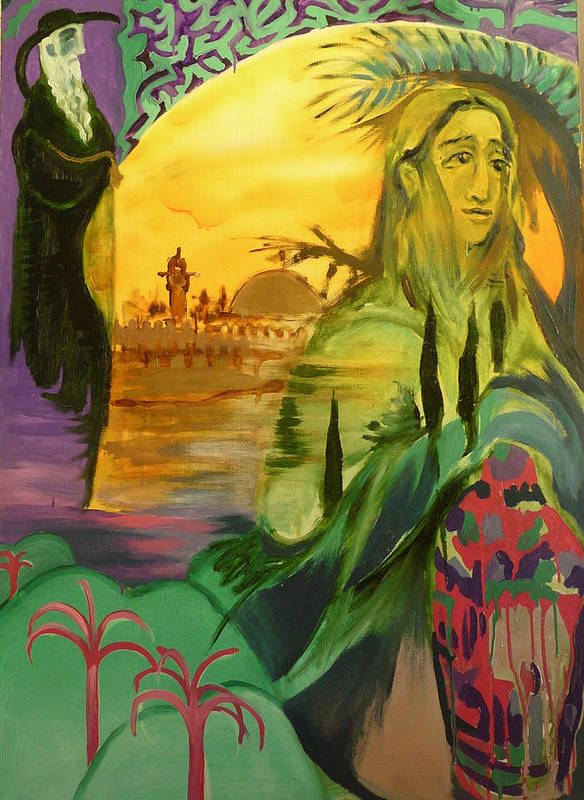 Surrealist Poster featuring the painting On The Way To Jerusalem by Zsuzsa Sedah Mathe