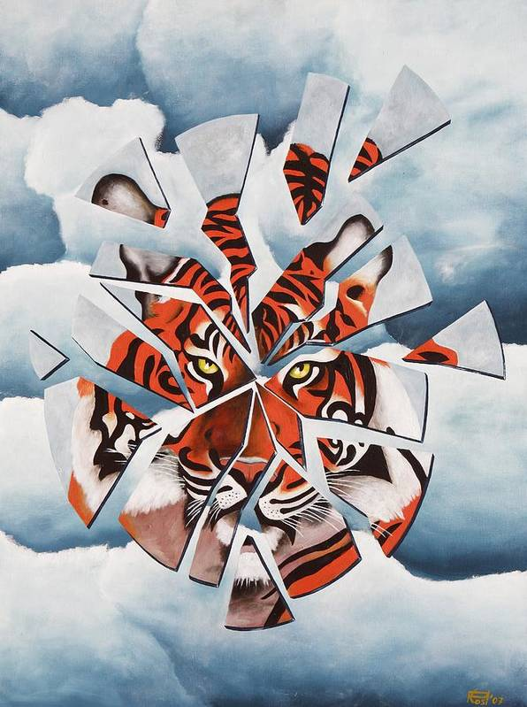 Tiger Poster featuring the painting Once I Was A Tiger by Poul Costinsky