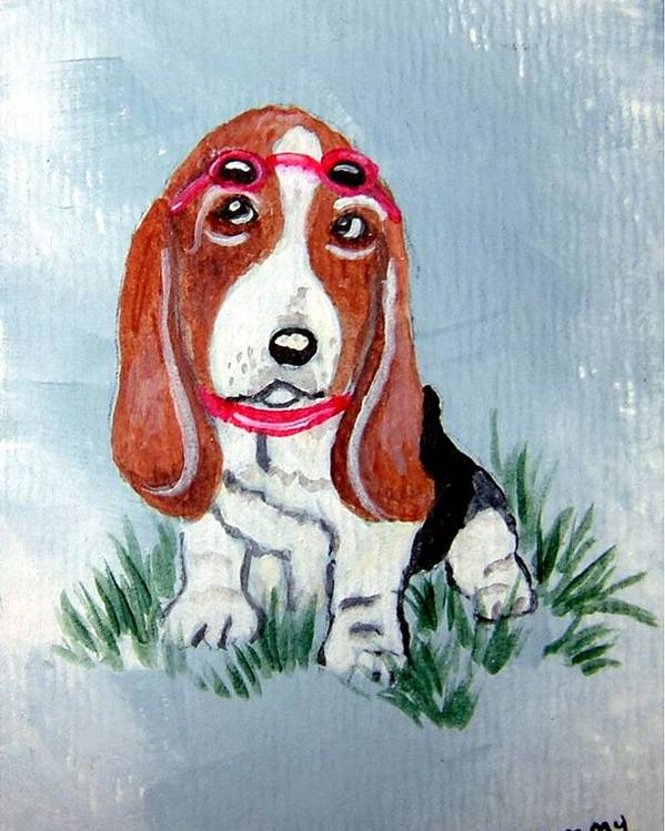 Basset Hound Poster featuring the painting One Cool Basset Hound by Tammy Brown
