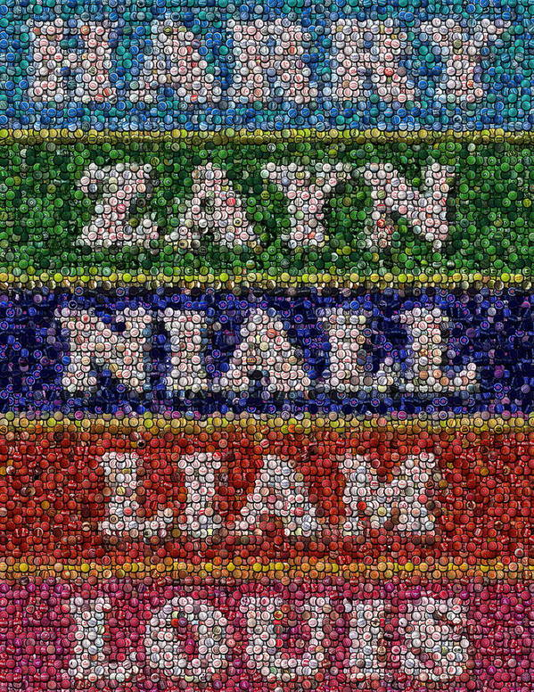 One Direction Poster featuring the drawing One Direction Names Bottle Cap Mosaic by Paul Van Scott