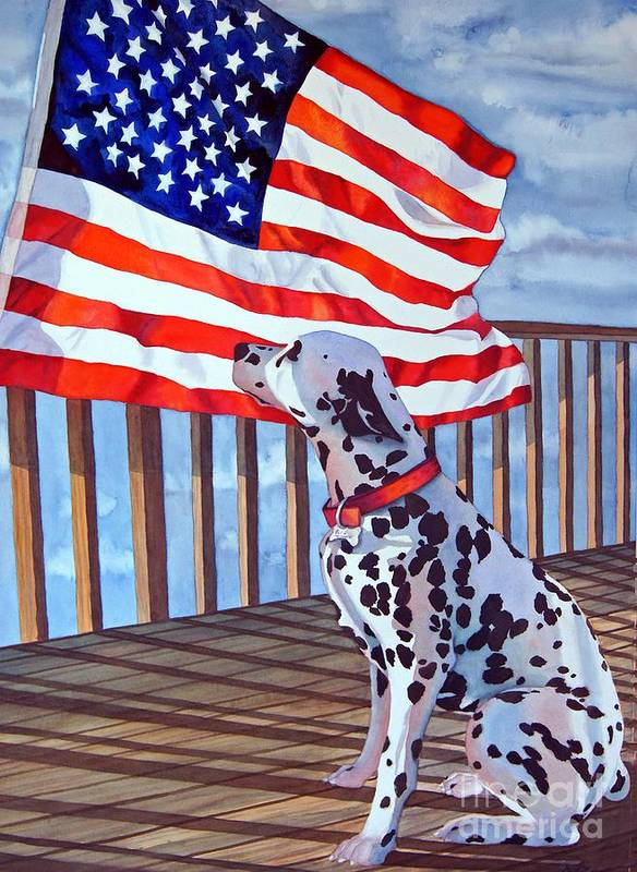 Animals/ Dog/ Dalmatian/u.s. Flag Poster featuring the painting One Dog Salute by Gail Zavala