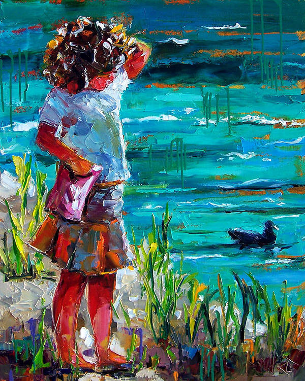Children Poster featuring the painting One Lucky Duck by Debra Hurd