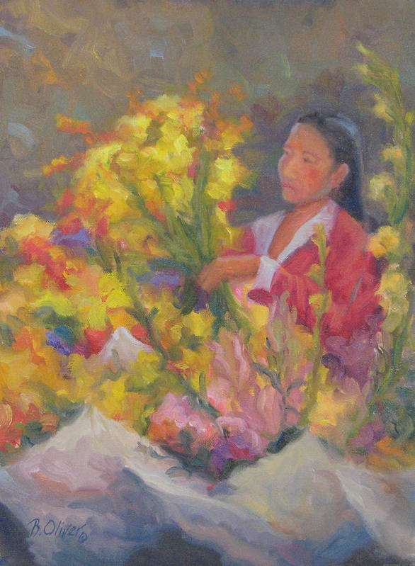 Woman Poster featuring the painting One More Bouquet by Bunny Oliver