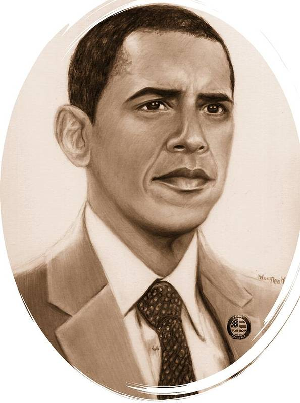 Barack Poster featuring the print One Of Unchartered Waters by Carliss Mora