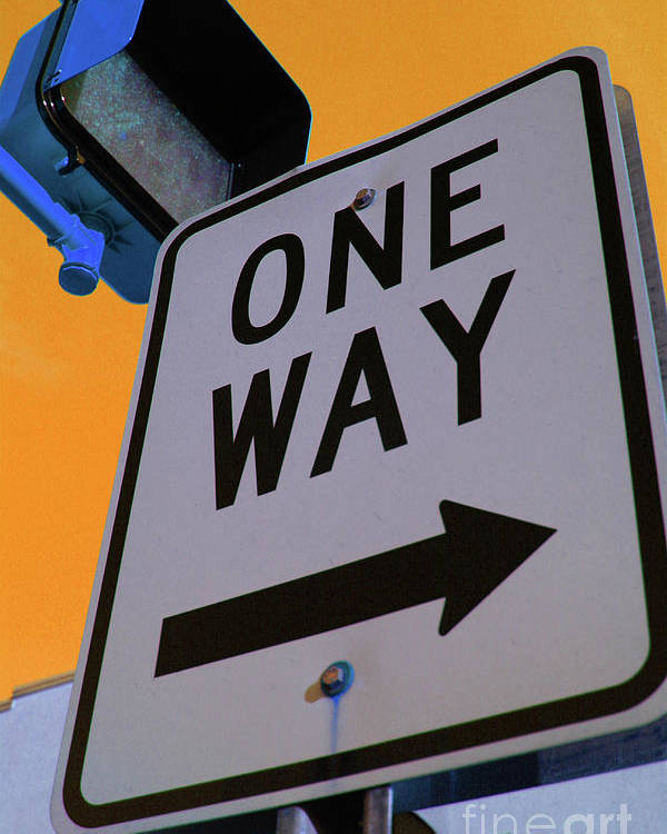 Street Sign Poster featuring the photograph Only One Way by Karol Livote