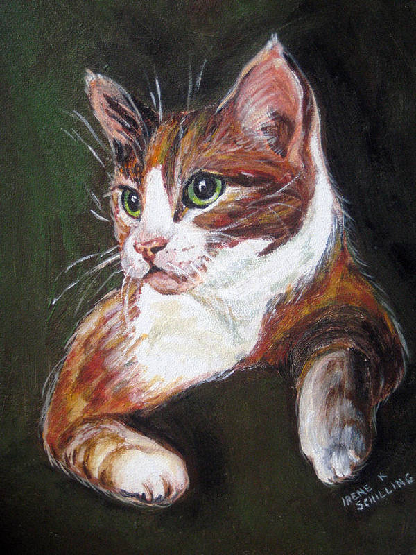 Cat Poster featuring the painting Orange Kitty by Irene Schilling
