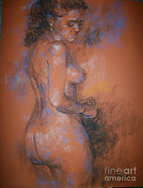 Figurative Poster featuring the painting Orange Nude by Tina Siddiqui