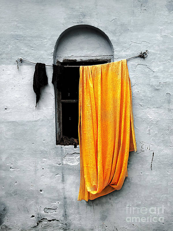 Window Poster featuring the photograph Orange Sari by Derek Selander