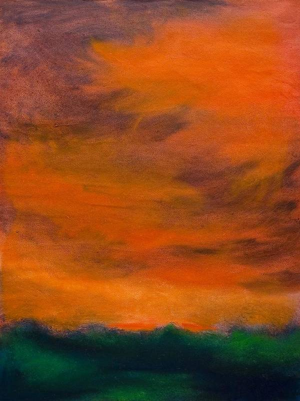 Abstract Landscape Poster featuring the painting Orange Sky by Wynn Creasy