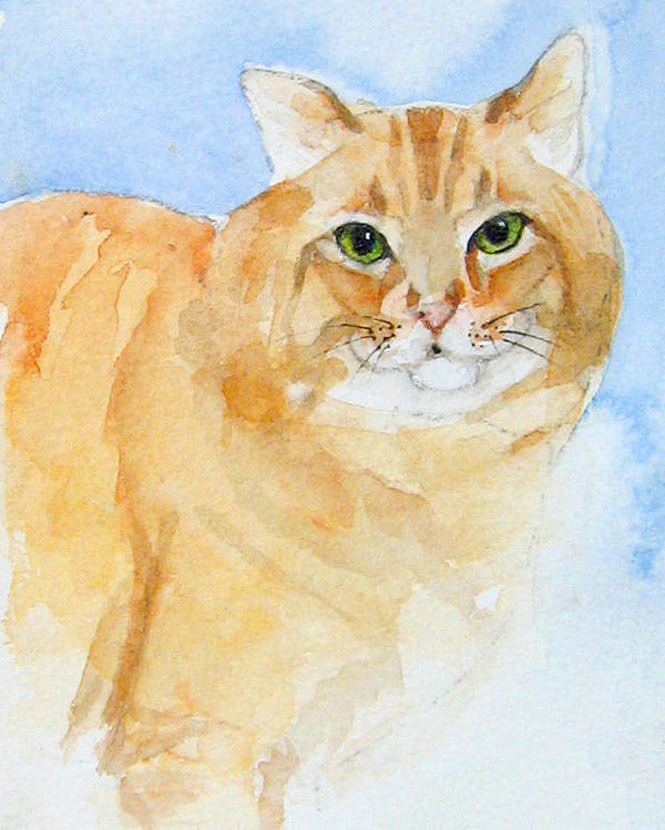 Feline Poster featuring the painting Orange Taffy by Gina Hall