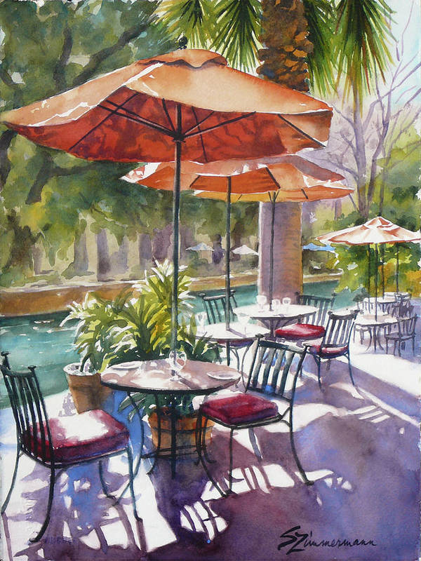 Cafe Poster featuring the painting Orange Umbrellas by Sue Zimmermann