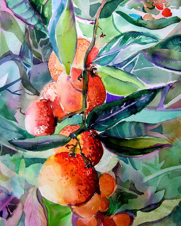Oranges Poster featuring the painting Oranges by Mindy Newman