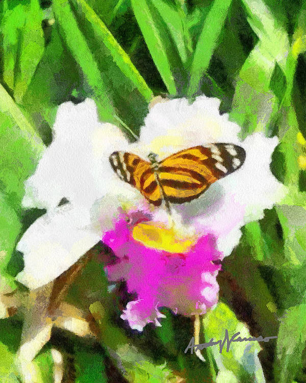 Flower Poster featuring the painting Orchid And Butterfly by Anthony Caruso